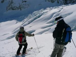 Andrew & Richard, On the Glacier, Scoping our Line - Methven Heliski - 25/7/10