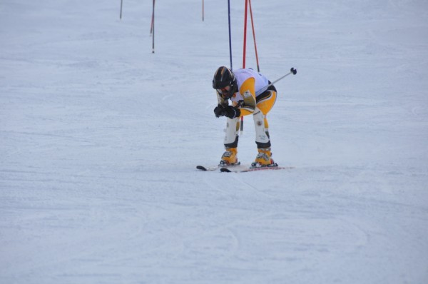Olivia Sayers skiing Slalom in the 2012 INAS World Championships